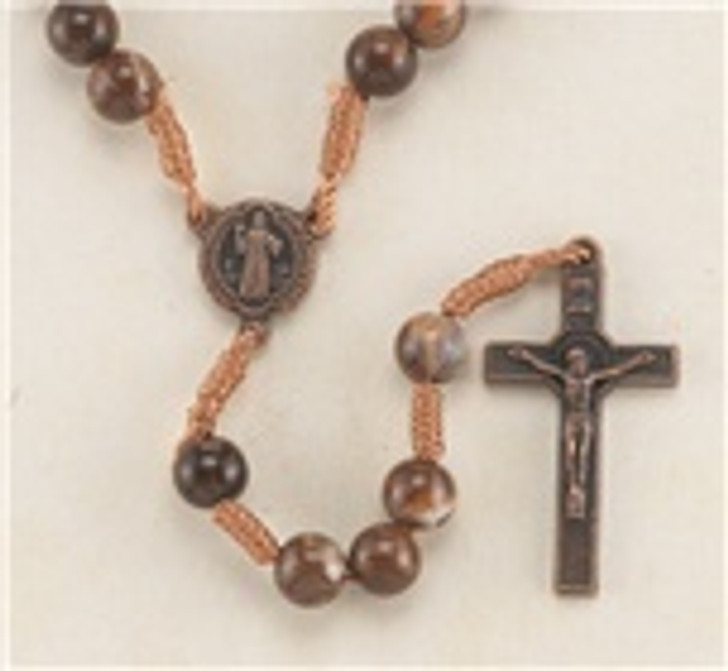 01179BN 8MM BROWN MARBLE BEAD ROSARY