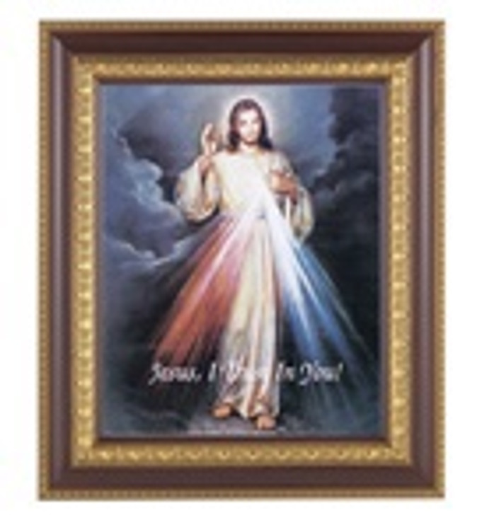 DIVINE MERCY IN A FINE DETAILED CHERRY & GOLD EDGE FRAME 126-123