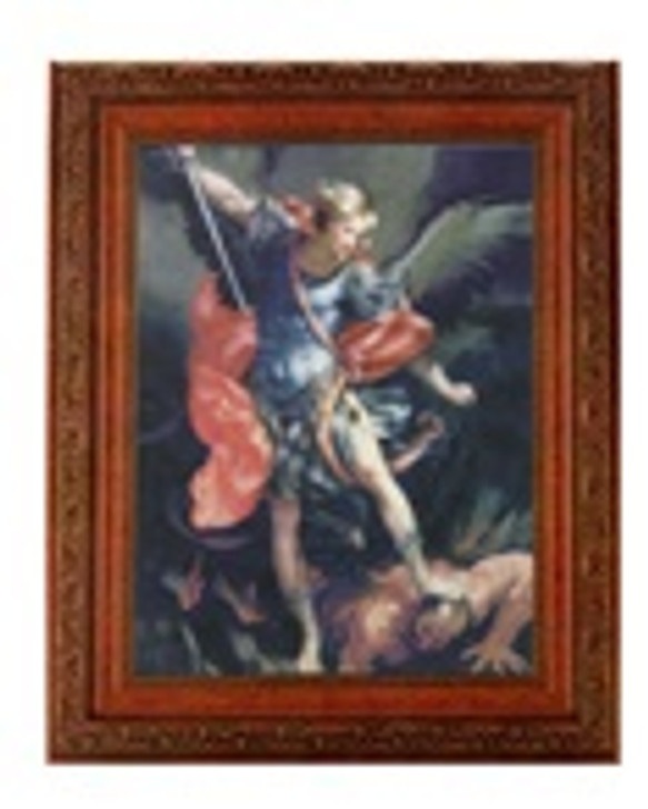 ST MICHAEL IN A FINE DETAILED ORNATE ANTIQUED MAHOGANY FINISHED FRAME 161-333