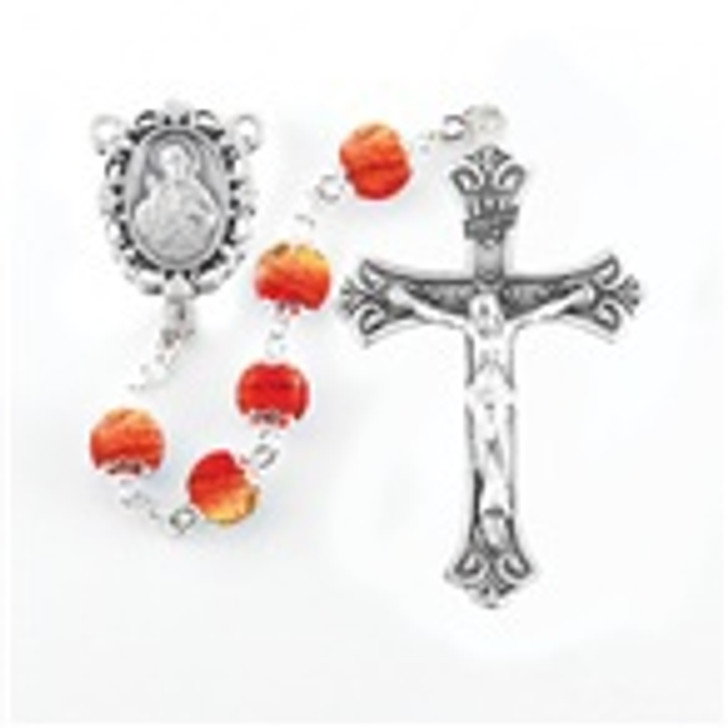 6MM BURNT ORANGE CAPPED BEAD ROSARY