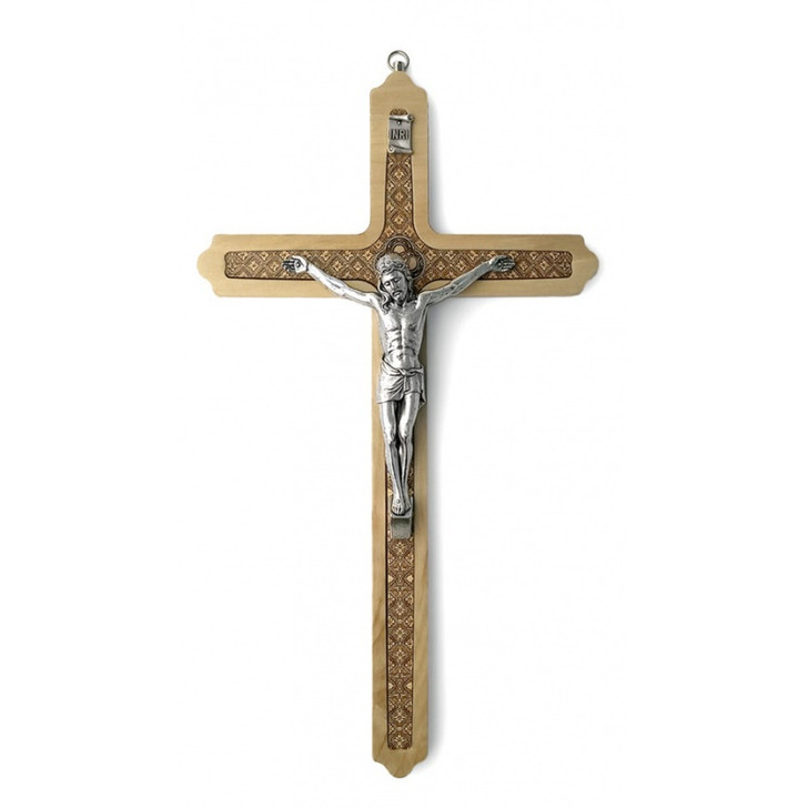 """CRUCIFIX LIGHT BROWN WOOD 12"""" WITH BROWN DESIGN CX448LBR"""