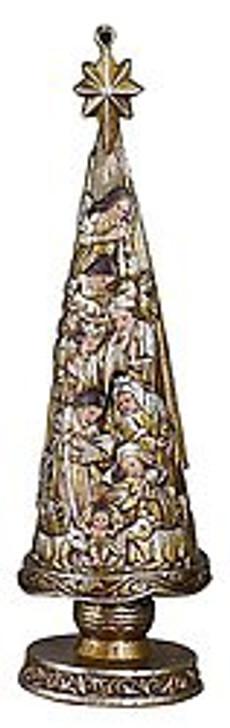 "Metallic Nativity Christmas Tree 5"" Ornament YD351"