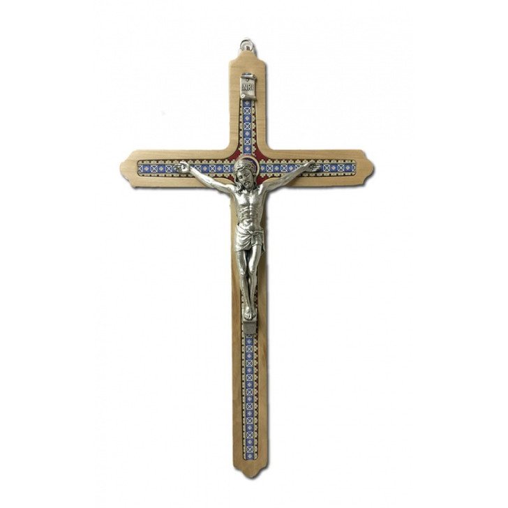 "CRUCIFIX LIGHT BROWN WOOD 12"" WITH BLUE DESIGN"