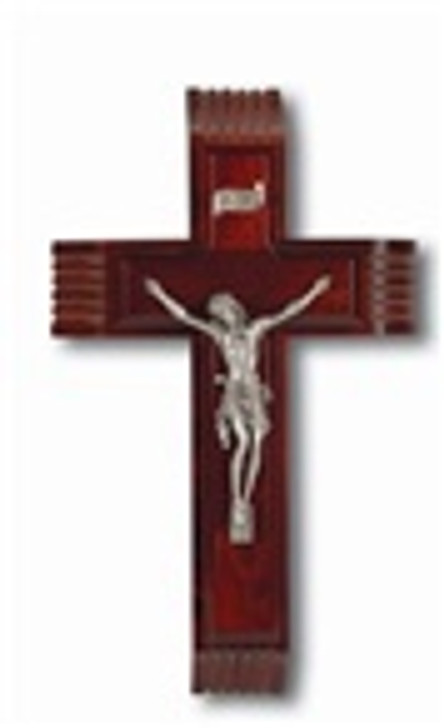 "10"" DARK CHERRY SICK CALL CRUCIFIX WITH GENUINE PEWTER CORPUS"