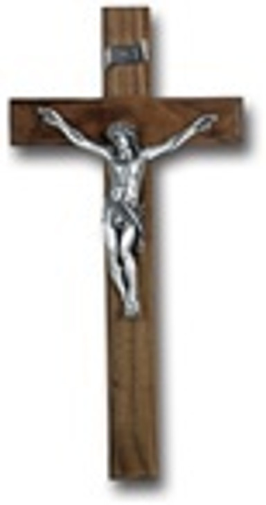12 In WALNUT CROSS WITH ANTIQUE PLATED CORPUS 25P-12W1