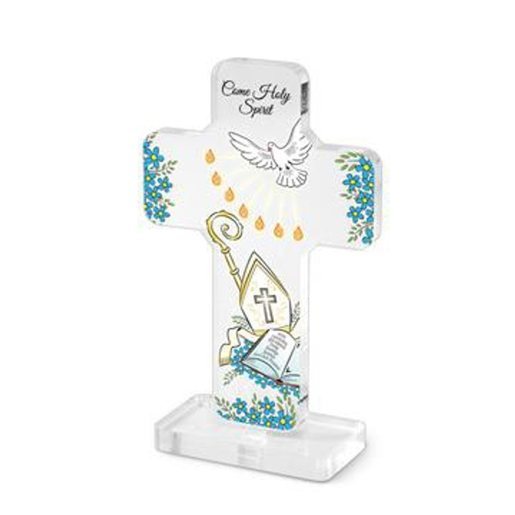 Clear Acrylic Confirmation 5 inch Standing Cross 187-20-3001