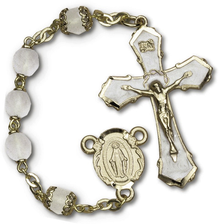 DLX Frosted Glass Rosary RY595-RC