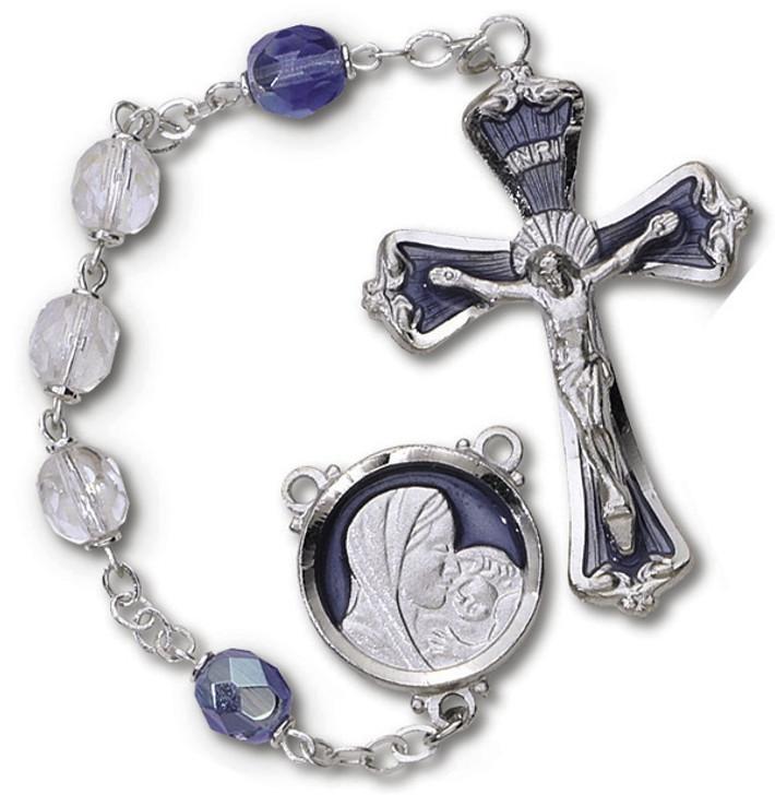 DLX Bor Rosary Crys/Blue RY628BL-RC