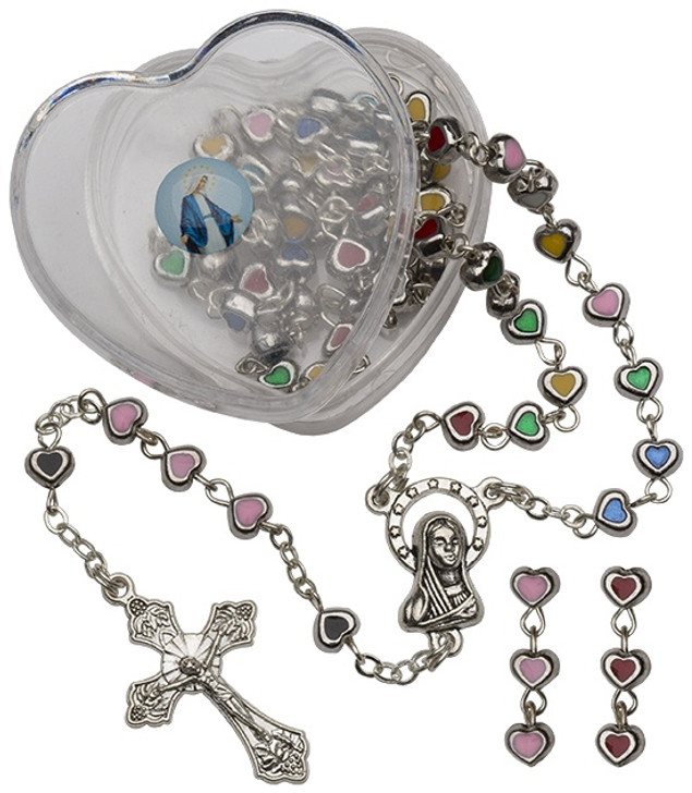 Metal/Enamel Hrt Rosary-Pink RY1228PK