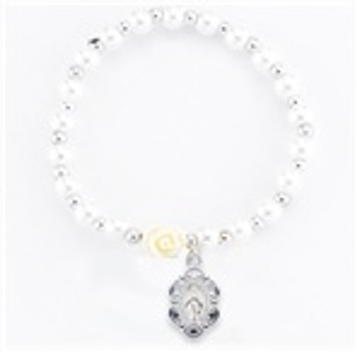 6MM WHITE PEARL BEAD CHILDREN BRACELET WITH OUR FATHER BEADS AND MIRACULOUS MEDAL 759WT-601