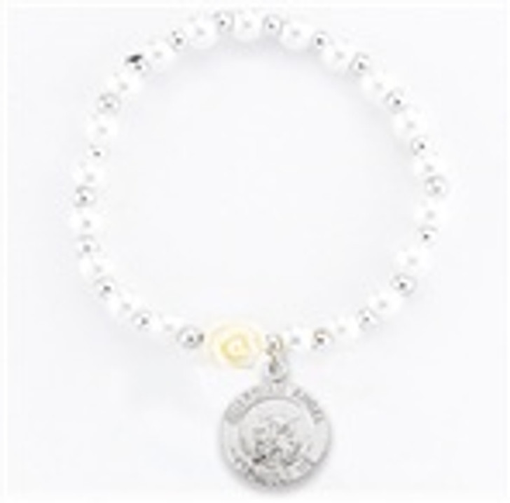 6MM WHITE PEARL BEAD BRACELET WITH OUR FATHER BEADS AND GUARDIAN ANGEL MEDAL 759WT-604