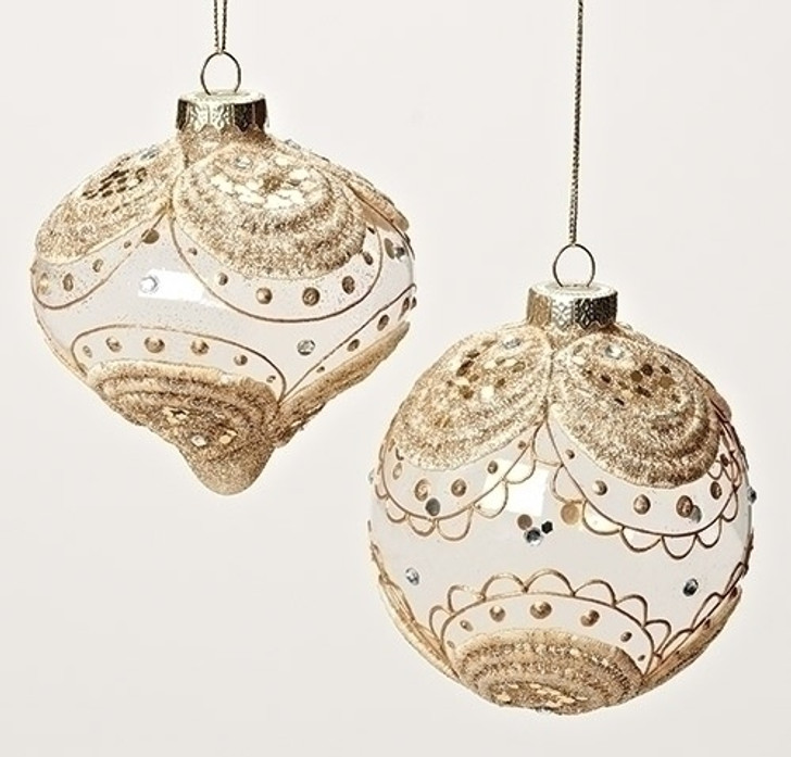 4 In GOLD LACE-GLASS ORN Set of 6 31785
