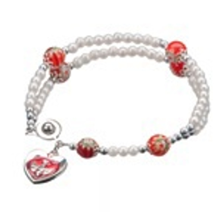 PEARLIZED BEAD ROSARY BRACELET WITH MURANO GLASS OUR FATHER BEADS 726