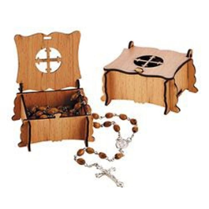 Olive Wood Finish Rosary with Cross Box B3701