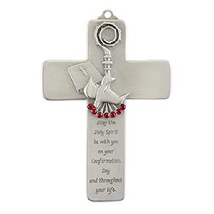 Confirmation Wall Cross with Red Jewels JC-3213-E