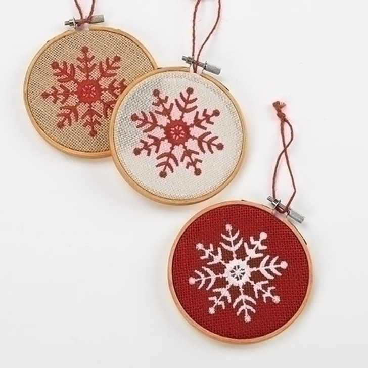 4.75 In EMBROIDERED LOOM ORN Set of 3A 30893