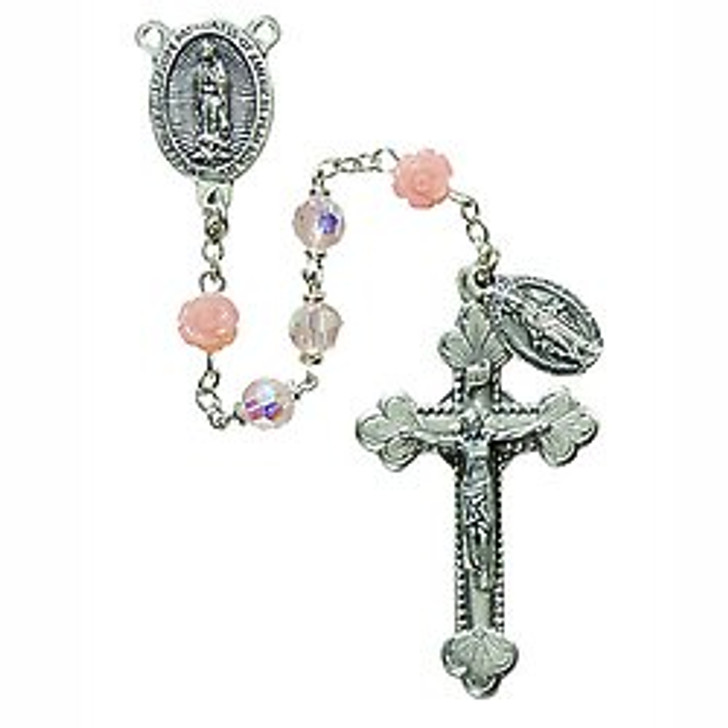 Our Lady of Guadalupe Rose Pink Rosary SO6ROPK5D