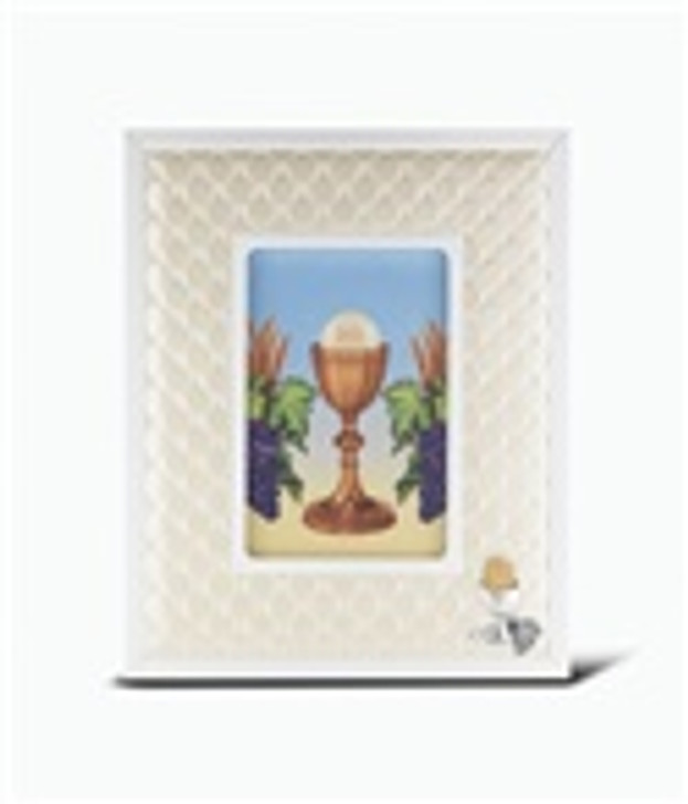 """8"""" X 10"""" WHITE SYNTHETIC LEATHER FRAME WITH CHALICE FIGURE 2241-695"""