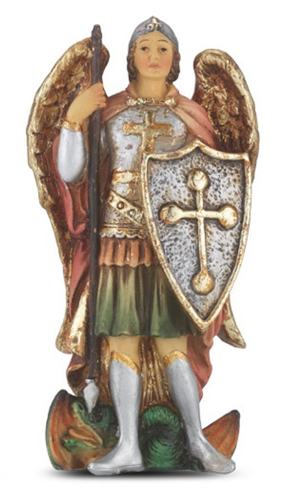 "4"" St. Michael resin statue 1735-330"