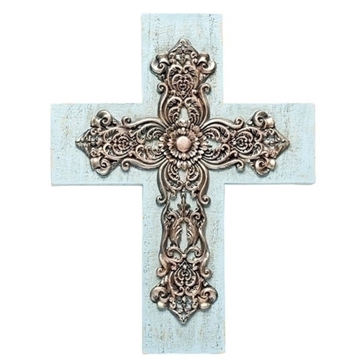"""12.25""""H BLUE WASHED WALL CROSS 15829"""