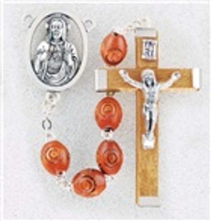 BROWN BOXWOOD BEADS ROSARY 01152BN