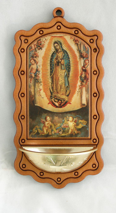 """346-GWD Our Lady of Guadalupe, Wood/Gold, 3.5x7"""""""