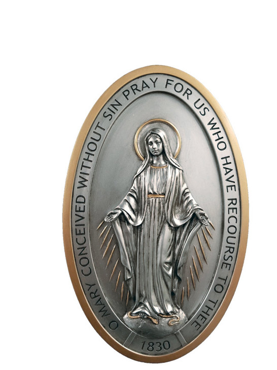"""SR-72717-PE, Miraculous Medal plaque, pewter style finish with gold trim, 5x8"""""""