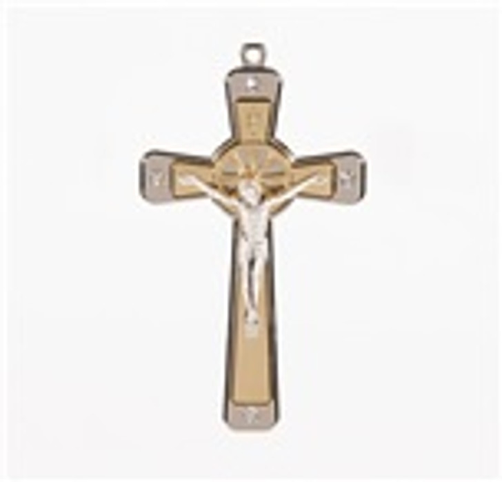 5 In TWO TONE NICKEL CROSS WITH CLEAR CRYSTAL STONE 2161CR
