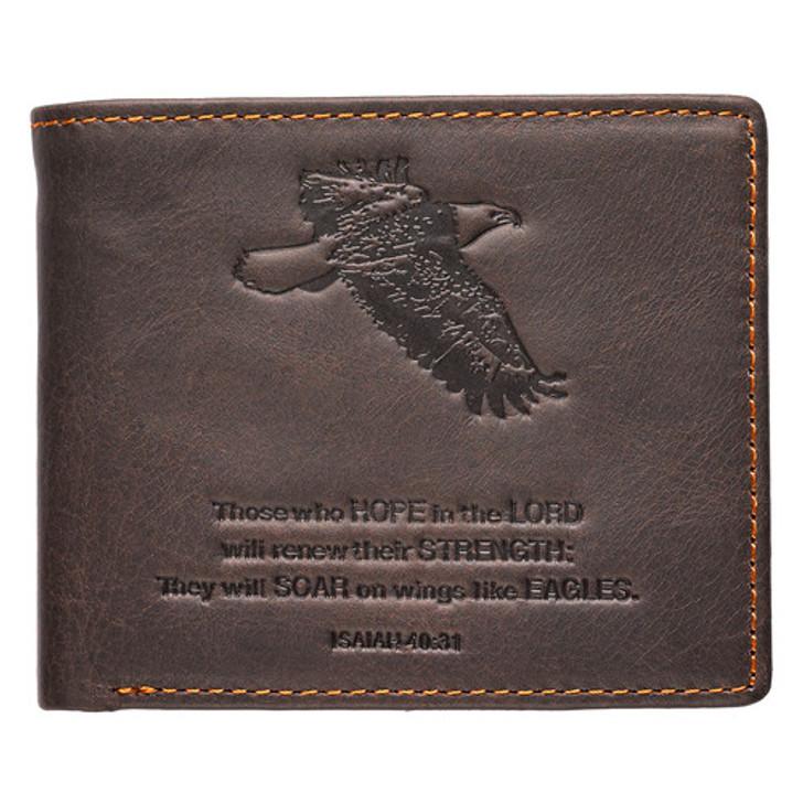 Wings Like Eagles Dark Brown Genuine Leather Wallet - Isaiah 40:31 WT024