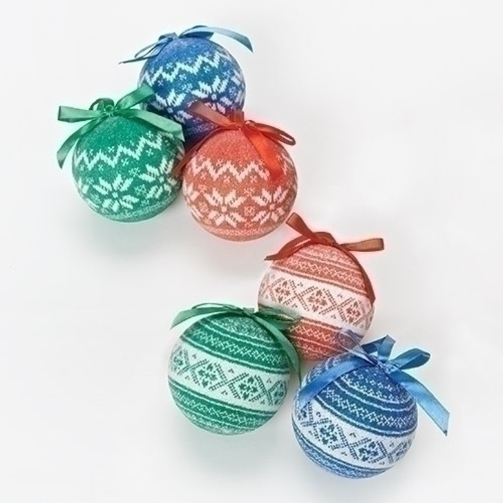 6PC ST 3 In XMAS SWEATER BALL ORN 30667
