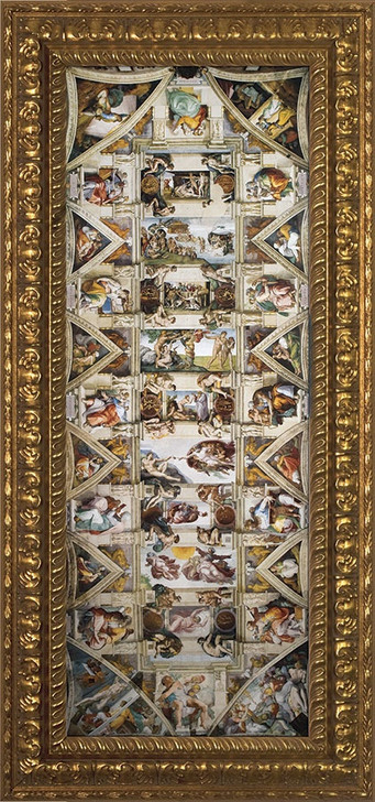Ceiling of the Sistine Chapel - Ornate Gold Plexiglass Framed Art NW-613