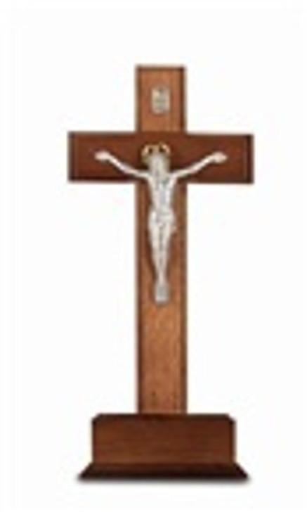 10 IN WALNUT CRUCIFIX WITH SILVER CORPUS 42A-10W7