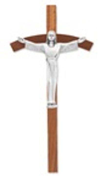 WALNUT CROSS PEWTER RISEN CHRIST 31P-8W3