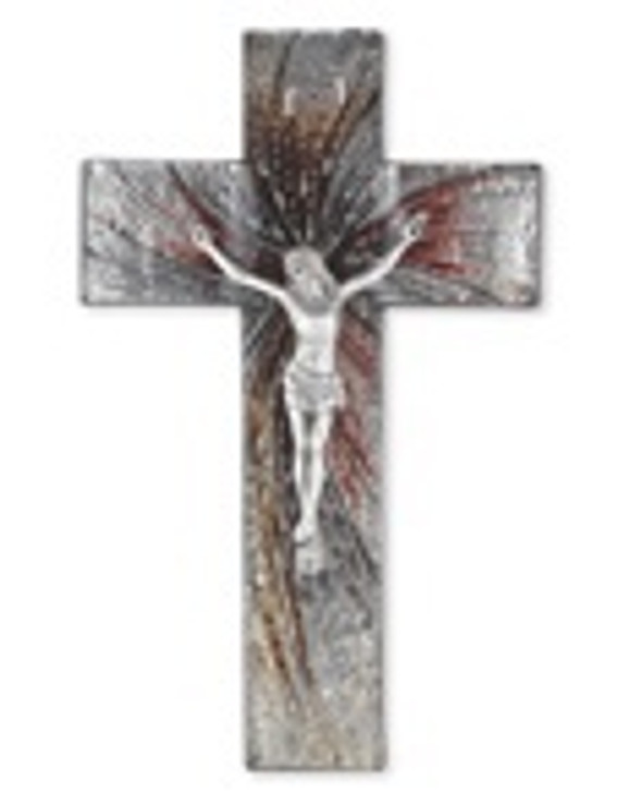 10 IN SILVER GLASS CROSS PEWTER CORPUS 26P-10SC