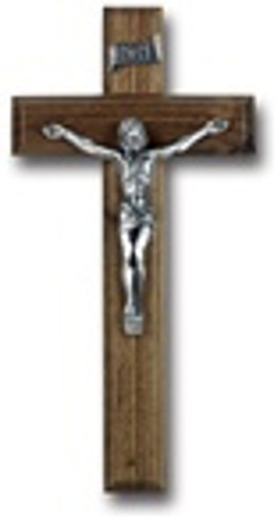 10 IN WALNUT WOOD CROSS W PEWTER CORPUS 45P-10W1