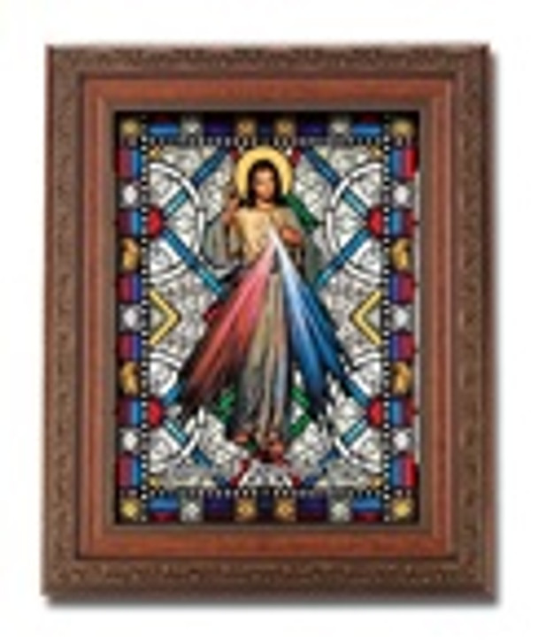 DIVINE MERCY TEXTURED ITALIAN ART GLASS IN FRAME SG861-123