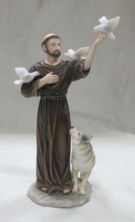 St. Francis with Animals, Hand-Painted, 11inches SR-75752-C FS