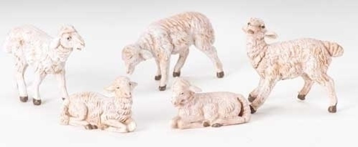 5 piece st 5 In white sheep figs fontanini. 5 piece set. 5 styles. 3 In W,2.5 InH 72539 FS