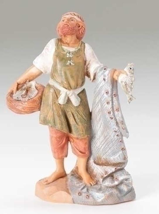 5 in hiram fisherman figure with nets-fish basket 52546