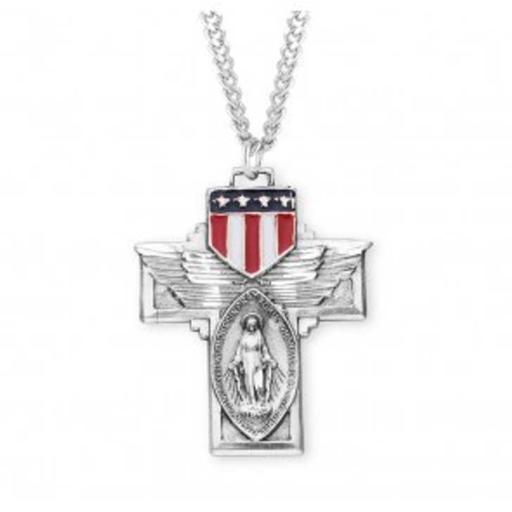 Military Winged Sterling Silver Miraculous Medal S119624