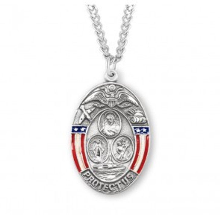 Sterling Silver Oval Military Medal S141924