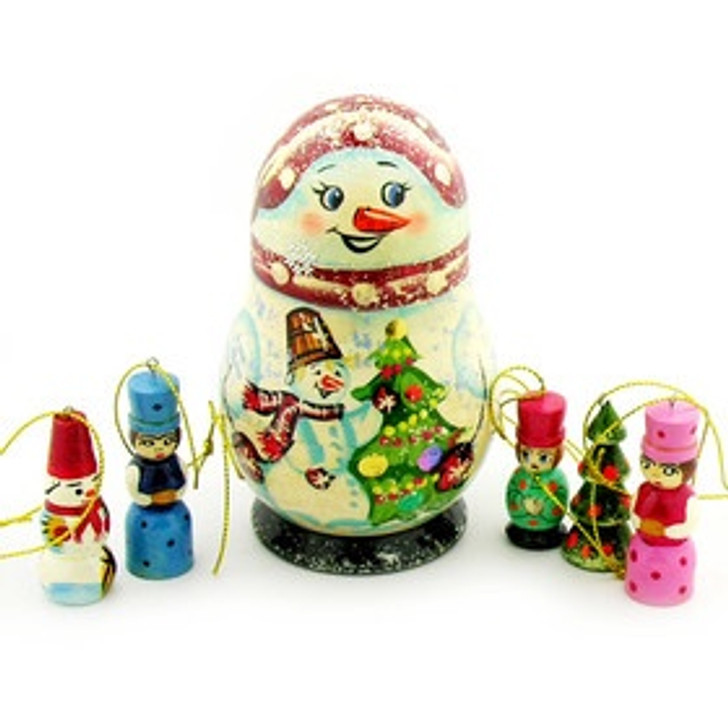 Open Up Snow Man With Christmas Ornaments 4 .625 In x 3 In 828