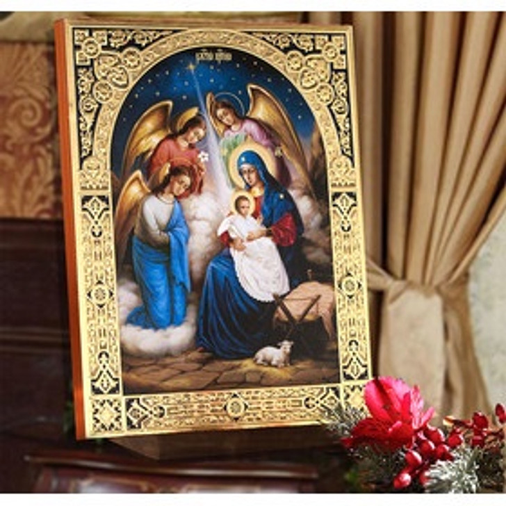 IR-407 Beautiful Nativity Of Christ Gold Foil Embossed Icon NEW 8.25 In x 10 In
