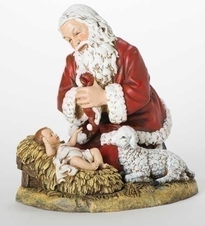 13 In KNEELING SANTA W-LAMB FIG 26780