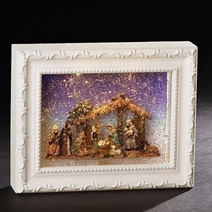 "9.5""LED NATIVITY WHT FRME SWRL DOME 131195"