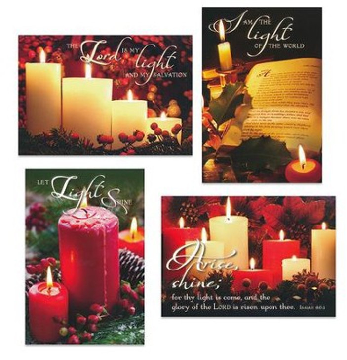 Christmas Candles, Assorted Christmas Cards, Box of 12