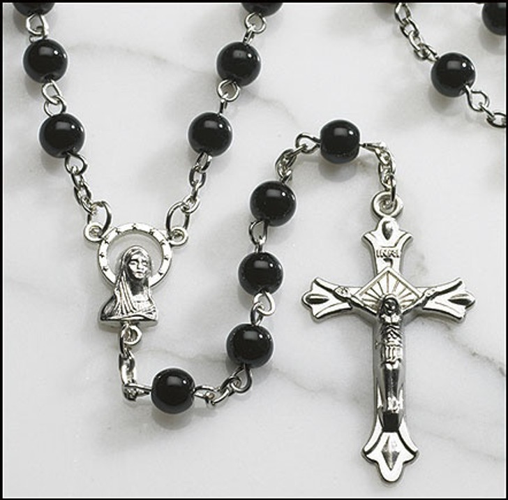 Black Round Pressed Glass Rosary PT500