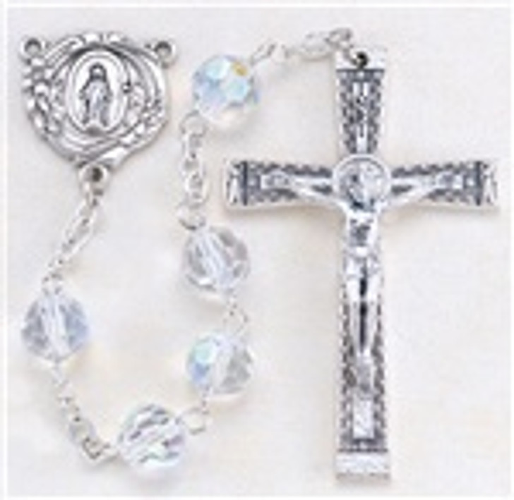 CRYSTAL TIN CUT MULTI FACETED ROUND BEAD ROSARY 300CR