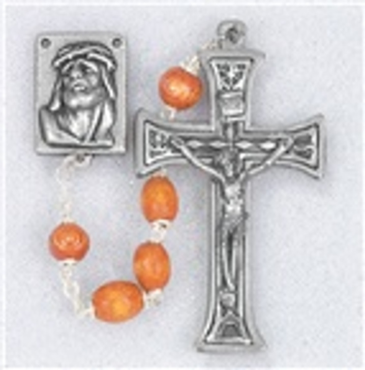 01282NT NATURAL OVAL WOOD BEADS HANDCRAFTED ROSARY
