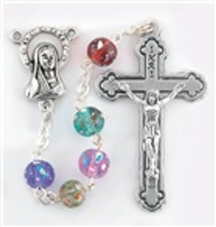 1706 MULTI COLORED GLASS SPECKLED BEAD ROSARY